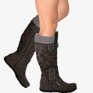 New Generation Y Gray Knee High Sweater Boots 7